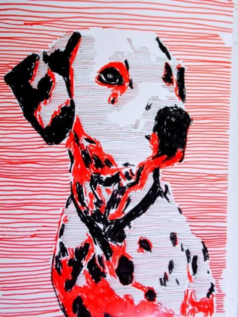Hand gefertigte Pop Art Illustration: Dalmatiner