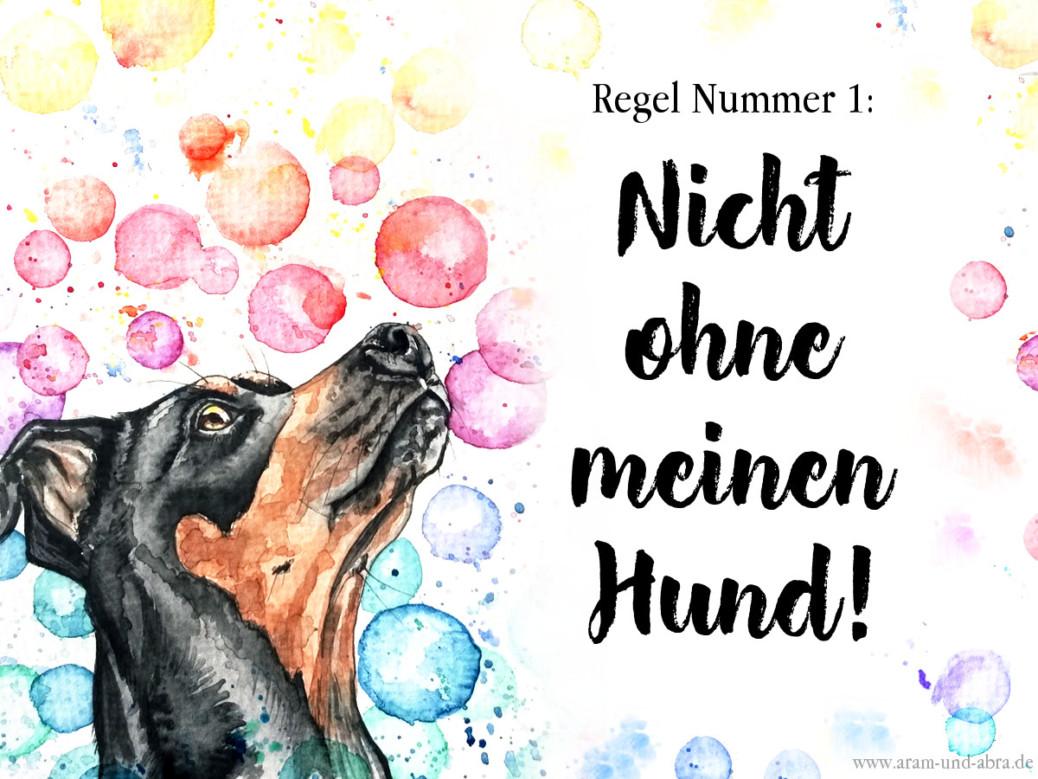 Nicht ohne meinen Hund_Freebie_Hund_Dobermann_bunt_Portrait_Aquarell_Zeichnung_Facebook