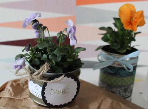 DIY Blumentopf aus Futterdosen