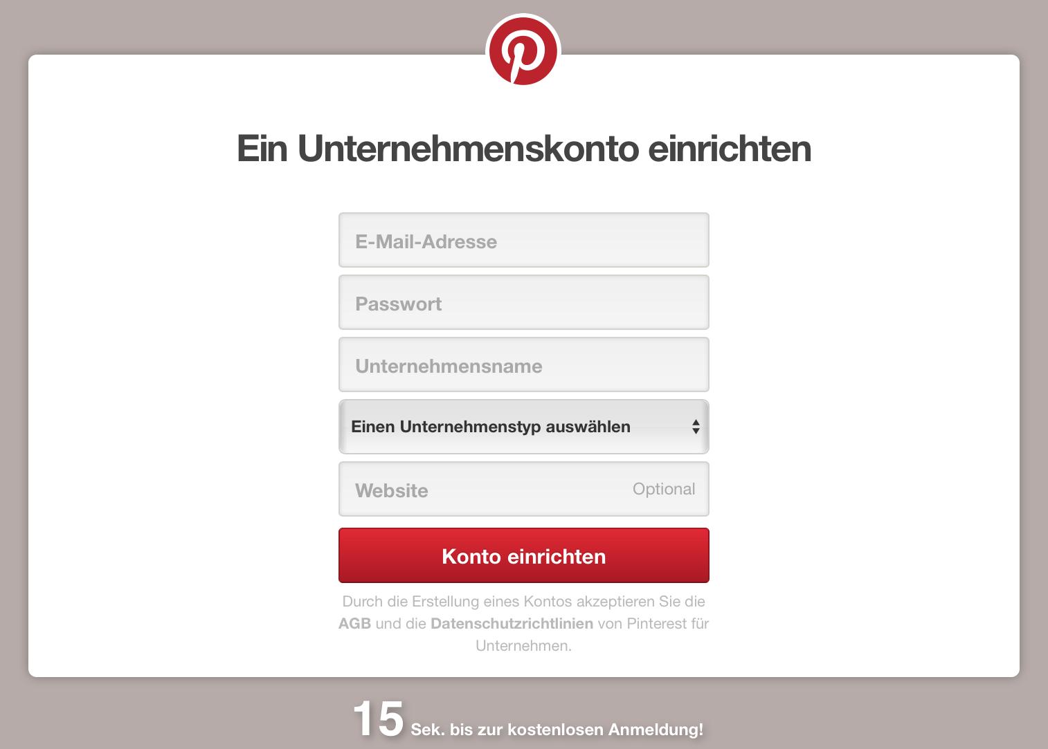 Pinterest direkt als Unternehmen anmelden