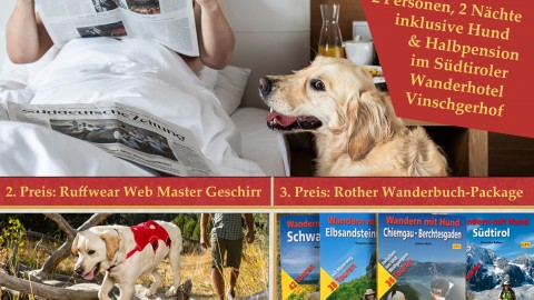 Wanderurlaub mit Hund, ein Wandergeschirr und Wanderbücher zu gewinnen! [Werbung]