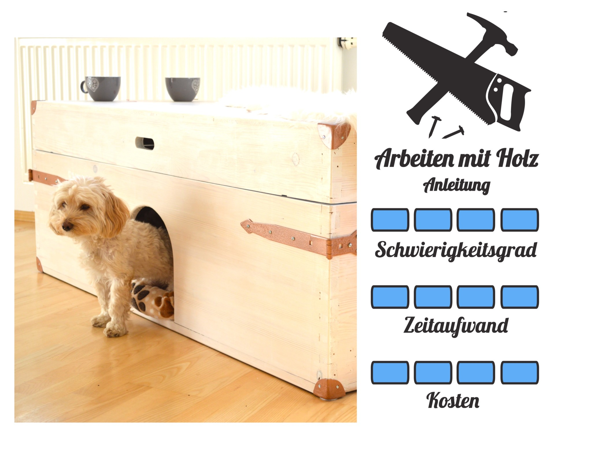 DIY für Hunde Vorlage - Truhe Körbchen Couchtisch