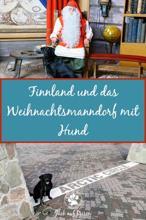 Finnland und das Weihnachtsmanndorf mit Hund